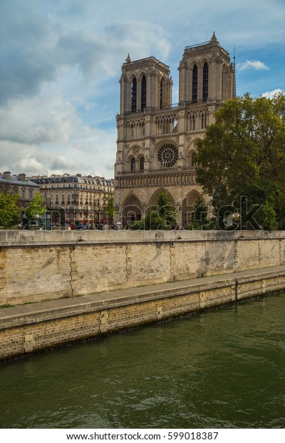 Notredame De Paris French Gothic Architecture Stock Photo