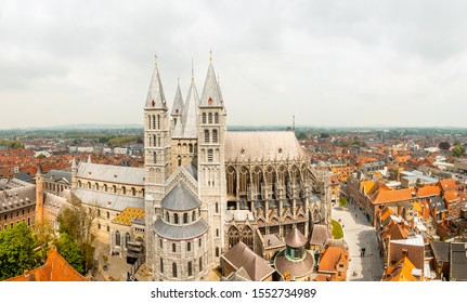 Notre-Dame de Tournai towers and surrounfing streets with old buildings panorama, Cathedral of Our Lady, Tournai, Walloon municipality, Belgium