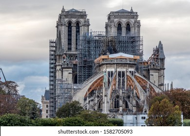 Notre-Dame restoration. Notre-Dame cathedral (Paris) was damaged by fire on 15 april 2019 - Shutterstock ID 1582705093