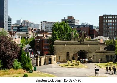 Nottingham Castle Gatehouse and Nottingham skyline view in July 2018