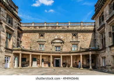 Nottingham castle. Castle (remodeled in 1678) is basically Nottingham museum and art gallery.
