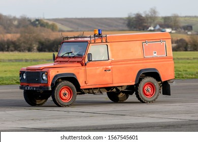 Nottingham City Airport (NQT), Tollerton, England, 20th November 2019. Landrover  Fire Crew return after a successful fire practice.