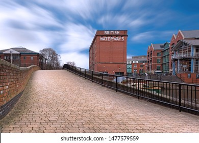 Nottingham City Centre, England, UK. February 3, 2019 The British Waterways Building, formerly known as the Trent Navigation Company warehouse, is situated on Nottingham Canal. It is Grade II-listed