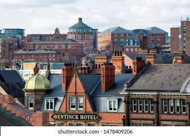 Nottingham City Centre, England, UK. March 24, 2019 Nottingham skyline seen over rooftops showing different types of architecture in the city of Nottingham, UK