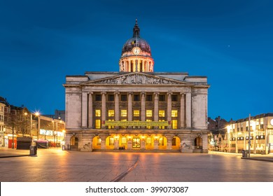 Nottingham Council House front shot at Twilight