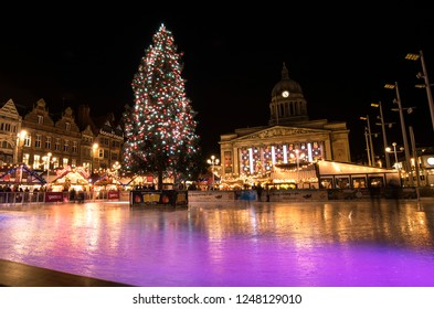 Nottingham, East Midlands, UK 12/17/2016 City Christmas fair and ice rink at night