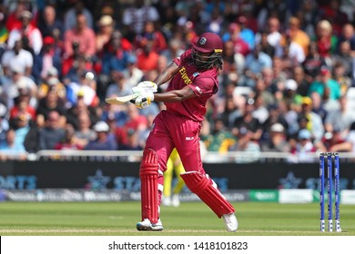 NOTTINGHAM, ENGLAND. 06 JUNE 2019: Chris Gayle of West Indies hits out during the Australia against West Indies, ICC Cricket World Cup match, at Trent Bridge, Nottingham, England.