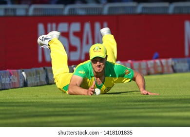 NOTTINGHAM, ENGLAND. 06 JUNE 2019: Nathan Coulter-Nile of Australia saves a boundary  during the Australia against West Indies, ICC Cricket World Cup match, at Trent Bridge, Nottingham, England.