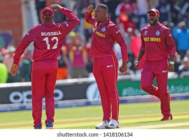 NOTTINGHAM, ENGLAND. 06 JUNE 2019: Sheldon Cottrell of West Indies celebrates taking the wicket of David Warner of Australia during the Australia against West Indies, ICC Cricket World Cup match