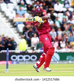 NOTTINGHAM, ENGLAND. 31 MAY 2019: Chris Gayle of West Indies hits the ball for four runs during the West Indies vs Pakistan, ICC Cricket World Cup match, at Trent Bridge, Nottingham, England.
