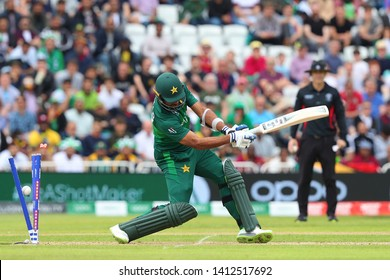 NOTTINGHAM, ENGLAND. 31 MAY 2019: Wahab Riaz of Pakistan is bowled out during the West Indies vs Pakistan, ICC Cricket World Cup match, at Trent Bridge, Nottingham, England.