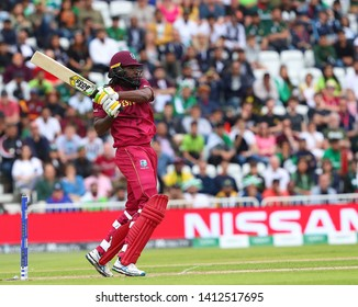 NOTTINGHAM, ENGLAND. 31 MAY 2019: Chris Gayle of West Indies plays a shot during the West Indies vs Pakistan, ICC Cricket World Cup match, at Trent Bridge, Nottingham, England.