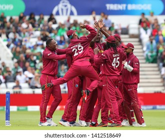NOTTINGHAM, ENGLAND. 31 MAY 2019: Jason Holder of West Indies celebrates taking the wicket of Sarfraz Ahmed of Pakistan during the West Indies vs Pakistan, ICC Cricket World Cup match
