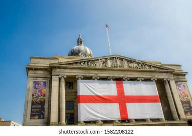 Nottingham, England April 21 2015. City square showing England flag