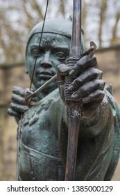 Nottingham, England - April 30, 2019: The Statue Of Robin Hood at Nottingham Castle, Nottingham, UK