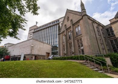 Nottingham, England - August 07, 2019: Newton and Arkwright Buildings Nottingham Trent University, Nottingham United Kingdom
