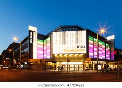 NOTTINGHAM, ENGLAND - AUGUST 30: Frontage of the INTU Victoria Centre - shopping centre. In Nottingham, England. On 30th August 2016.