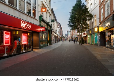 NOTTINGHAM, ENGLAND - AUGUST 30: Shops at night on Clumber Street. In Nottingham, England. On 30th August 2016.
