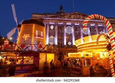 NOTTINGHAM, ENGLAND - DECEMBER 22: Merry go round at Nottingham Christmas Market at night. In Nottingham, England. On 22nd December 2016.