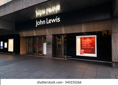 NOTTINGHAM, ENGLAND - DECEMBER 26: Boxing Day sale POS outside John Lewis department store. In Nottingham, England. On 26th December 2016.
