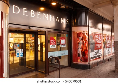NOTTINGHAM, ENGLAND - DECEMBER 26: Debenhams Nottingham on Boxing Day sales showing sales posters. In Nottingham, England. On 26th December 2016.