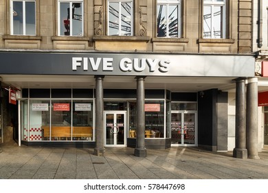 NOTTINGHAM, ENGLAND - FEBRUARY 13: Exterior of 'Five Guys' burger restaurant in Nottingham. In Nottingham, England. On 13th February 2017.