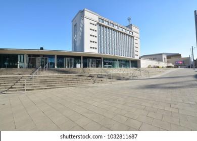 Nottingham, England - February 25, 2018: Newton and Arkwright Buildings Nottingham Trent University, Nottingham, United Kingdom