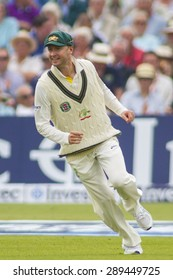 NOTTINGHAM, ENGLAND - July 10, 2013: Australia's Michael Clarke celebrates the wicket  of Kevin Pietersen during day one of the first Investec Ashes Test match at Trent Bridge Cricket Ground