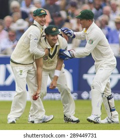 NOTTINGHAM, ENGLAND - July 10, 2013:  Australia's Michael Clarke Shane Watson and Brad Haddin celebrate during day one of the first Investec Ashes Test match at Trent Bridge Cricket Ground