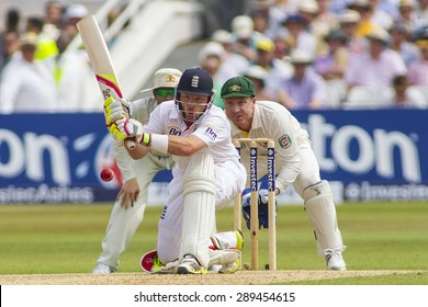 NOTTINGHAM, ENGLAND - July 12, 2013: Michael Clarke, Ian Bell and Brad Haddin in action during day three of the first Investec Ashes Test match at Trent Bridge Cricket Ground on July 12, 2013