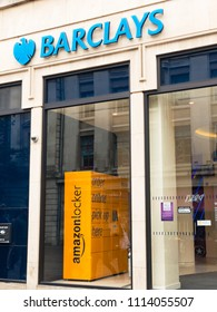 NOTTINGHAM, ENGLAND - JUNE 16: Amazon locker for parcel pick ups - located within a Barclays Bank, in Nottingham, England. In Nottingham, England. On 16th June 2018.