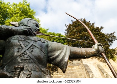 NOTTINGHAM, ENGLAND - JUNE 17: Low angle view of statue of Robin Hood, near Nottingham Castle. In Nottingham, England. On 17th June 2017.