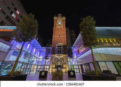 Nottingham, England - May 2 2019: Intu Victoria Centre, is a shopping centre in Nottingham, England,  it contains fashion and high street chain stores as well as cafes, restaurants, a health and fitne