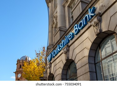 NOTTINGHAM, ENGLAND - NOVEMBER 12: Yorkshire Bank exterior, Smithy Row, Nottingham. On Smithy Row, Nottingham, England. On 12th November 2017.