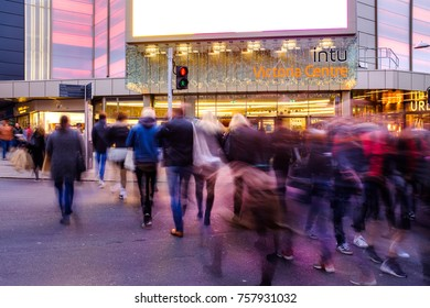NOTTINGHAM, ENGLAND - NOVEMBER 18: Creatively blurred people Christmas shopping at INTU Victoria Centre, Nottingham. Nottingham, England. On 18th November 2017.