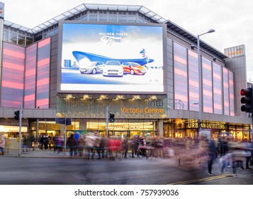 NOTTINGHAM, ENGLAND - NOVEMBER 18: Lots of people Christmas shopping at INTU Victoria Centre, Nottingham. Nottingham, England. On 18th November 2017.