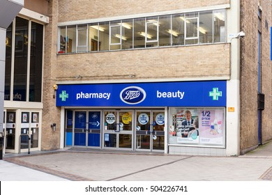 NOTTINGHAM, ENGLAND - OCTOBER 22: Frontage of the Boots pharmacy store. On Listergate, Nottingham, England. On 22nd October 2016.