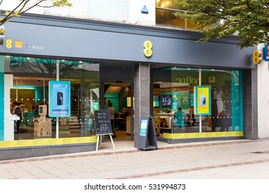 NOTTINGHAM, ENGLAND - OCTOBER 22: Frontage of the EE mobile phone store. On Listergate, Nottingham, England. On 22nd October 2016.