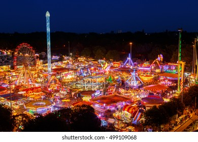 NOTTINGHAM, ENGLAND - OCTOBER 5: The annual Goose Fair carnival on the Forest Recreation Ground, from a high viewpoint. In Nottingham, England. On 5th October 2016.