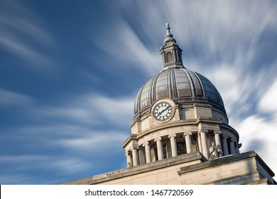 Nottingham, England, UK. February 23, 2019 Clouds in motion over Nottingham council house building. The city hall of Nottingham located in Old Market Square in Nottingham city centre. UK