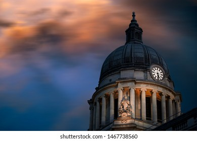 Nottingham, England, UK. February 23, 2019 Stormy sky over Nottingham council house building. The city hall of Nottingham located in Old Market Square in Nottingham city centre. UK