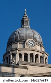 Nottingham, England, UK. February 23, 2019 Nottingham Council House is the city hall of Nottingham, The iconic 200 feet high dome that rises above the city is the centrepiece of the Nottingham skyline