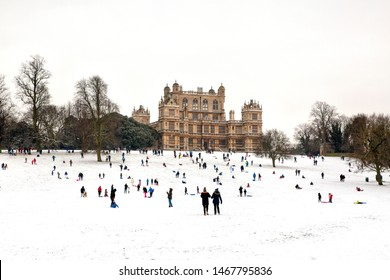 Nottingham, England, UK. March 1, 2018. People enjoying the snow at Wollaton Hall. A spectacular Elizabethan Mansion set in the beautiful suburbs of Nottingham. UK