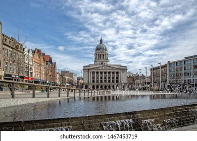 Nottingham, England, UK. March 14, 2019 Nottingham council house building. The city hall of Nottingham located in Old Market Square in Nottingham city centre.