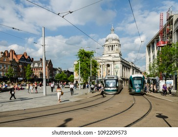 Nottingham Express Transit Trams in Old Market Square Nottingham in May 2017