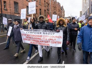 Nottingham, Midlands / UK - Apr 27 2019: Marcus Garvey Action Group marches through Nottingham