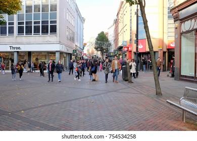 Nottingham, Nottinghamshire, UK. November 05, 2017.   Sunday shoppers walking down  Clumber street on a Sunday in November at Nottingham in Nottinghamshire, UK.