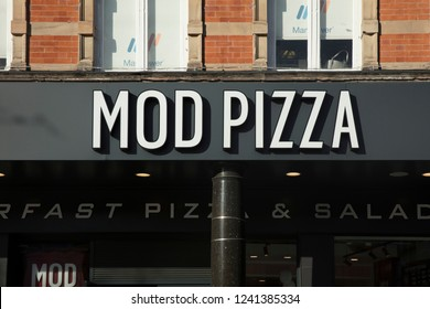 Nottingham, Nottinghamshire, UK: October 2018: MOD Pizza Sign