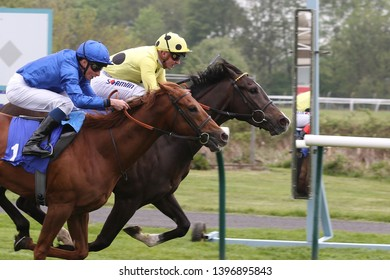 NOTTINGHAM RACECOURSE, COLWICK PARK, NOTTS, UK : 30 APRIL 2019 : Two racehorses Fifth Position and Space Blues gallop past the Post together in a Photo Finish at Nottingham Races