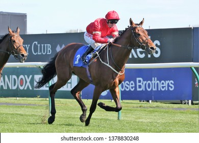 NOTTINGHAM RACECOURSE, COLWICK PARK, NOTTINGHAM, UK : 10 APRIL 2019 : Elegiac ridden by Franny Norton and trained by Mark Johnston Winning the Listed Barry Hills Further Flight Stakes